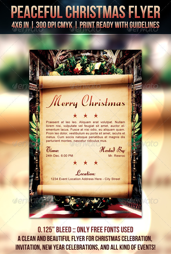 Peaceful Christmas Flyer - Clubs & Parties Events