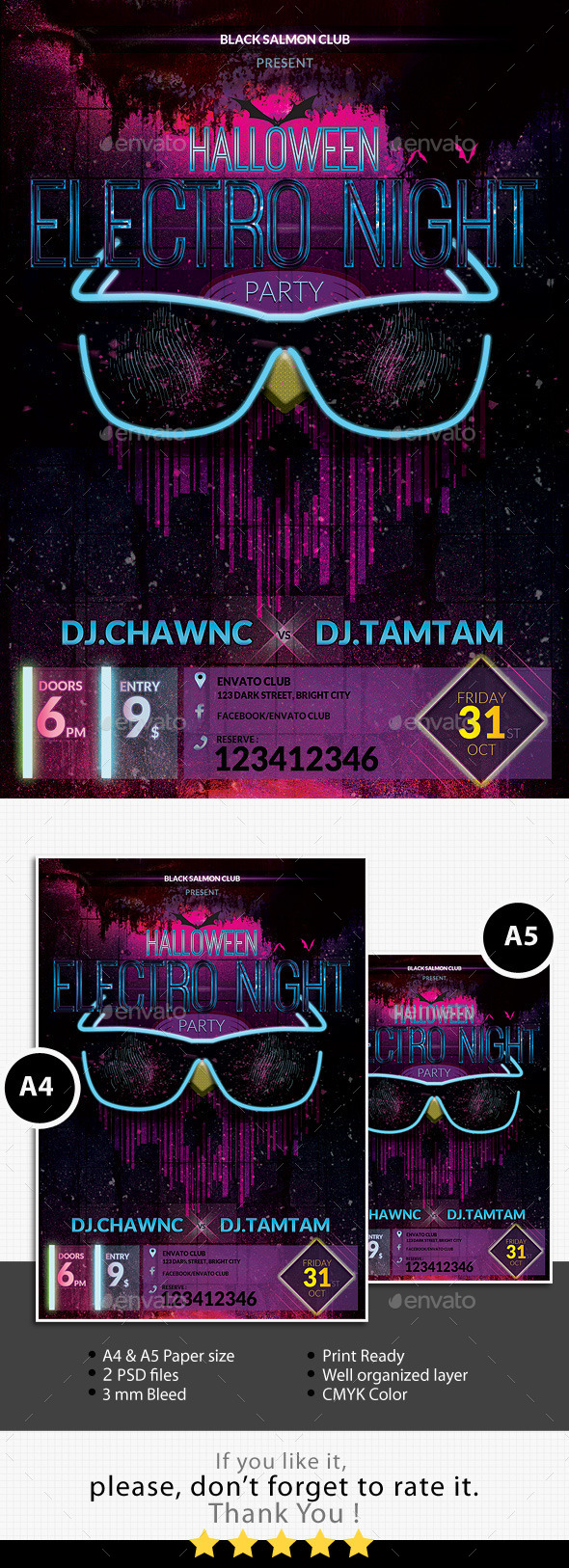 Halloween Electro Night Party Flyer - Clubs & Parties Events