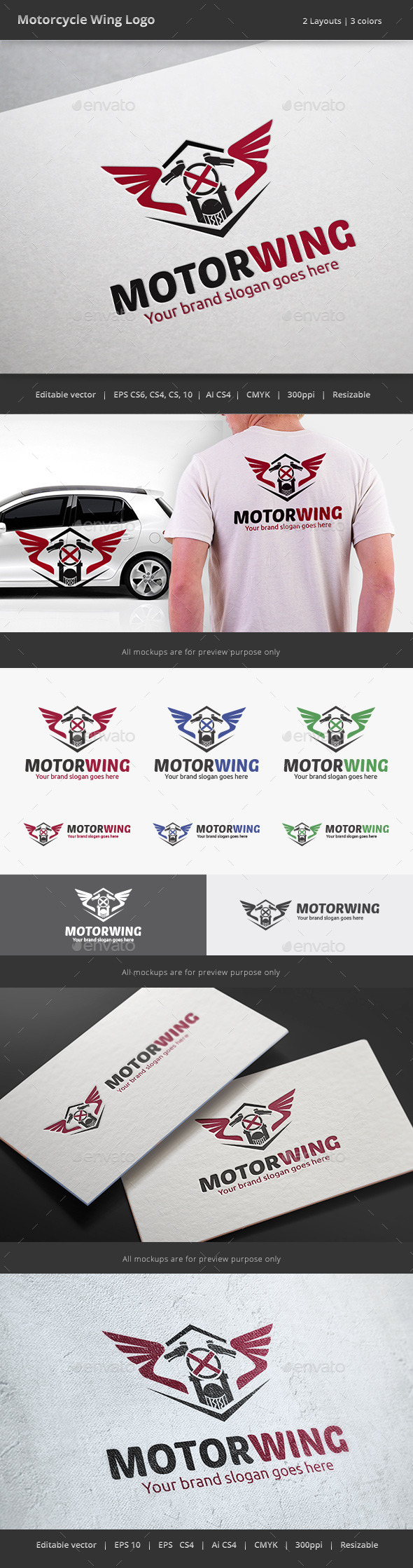 Motorcycle Wing Logo - Objects Logo Templates
