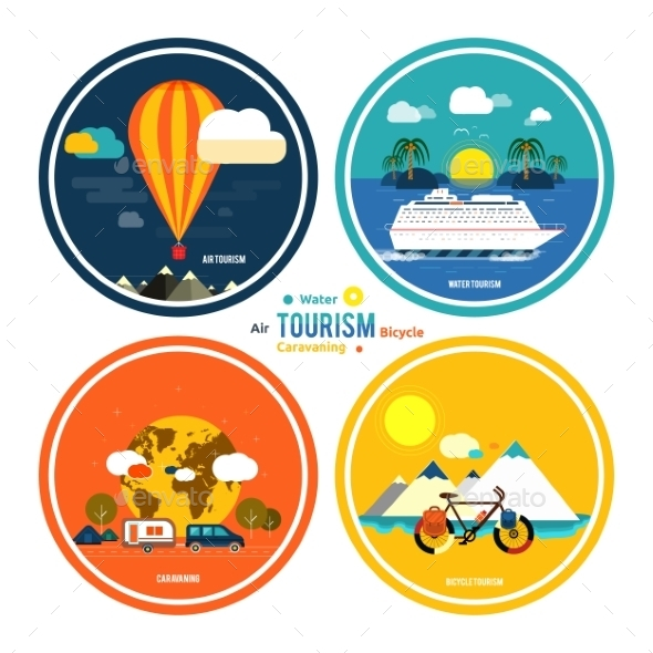 Set of Traveling and Planning a Summer Vacation - Travel Conceptual