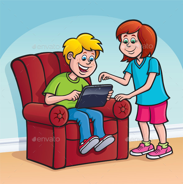 Boy and Girl Using a Digital Tablet - Technology Conceptual