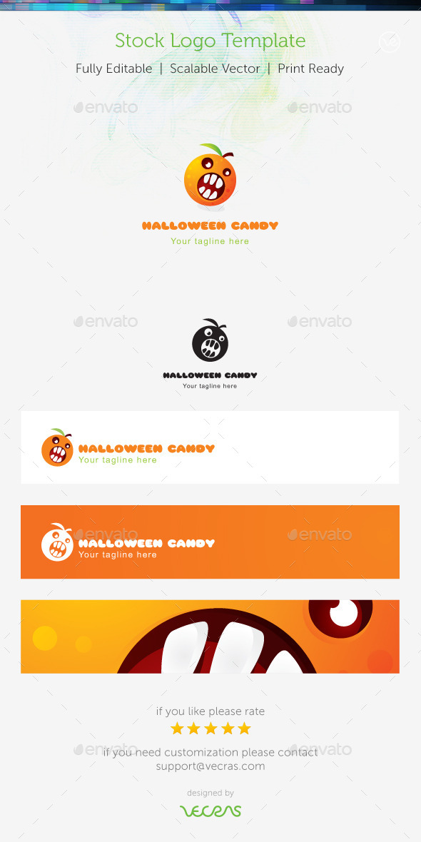 Hallowen Candy Stock Logo Template  - Food Logo Templates
