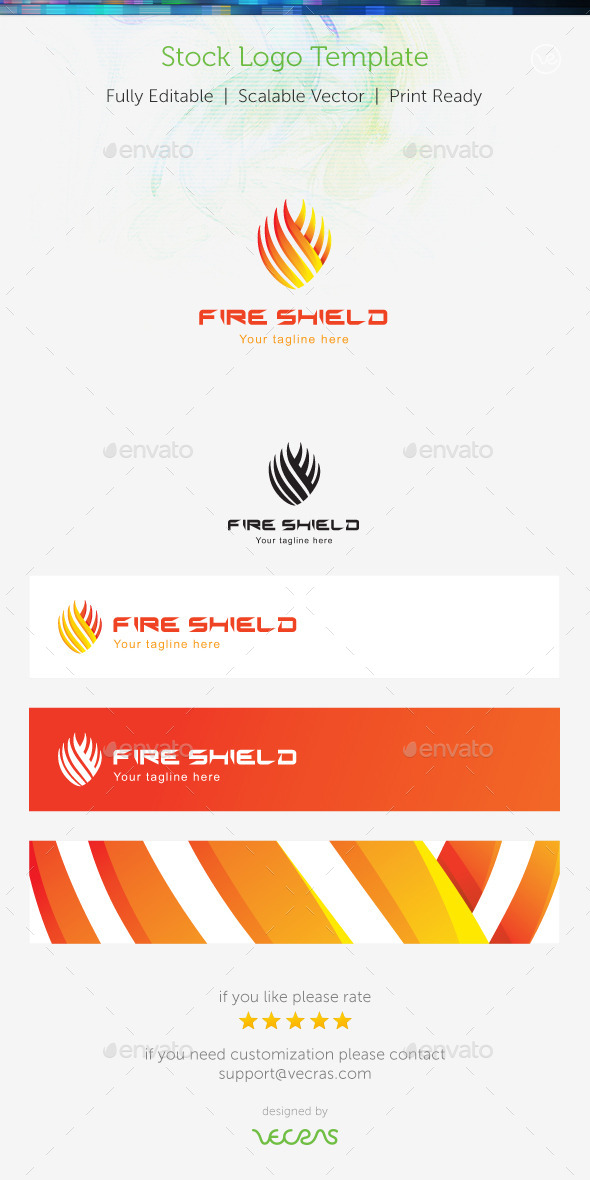 Fire Shield Stock Logo Template  - Abstract Logo Templates