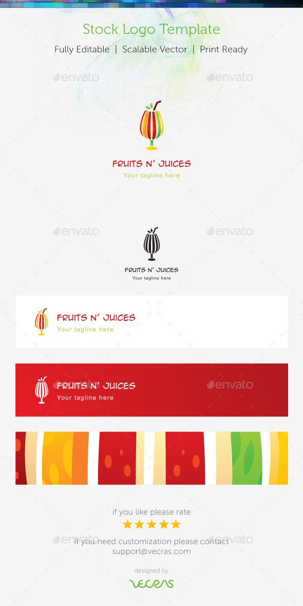 Fruit n' Juices Stock Logo Template  - Food Logo Templates
