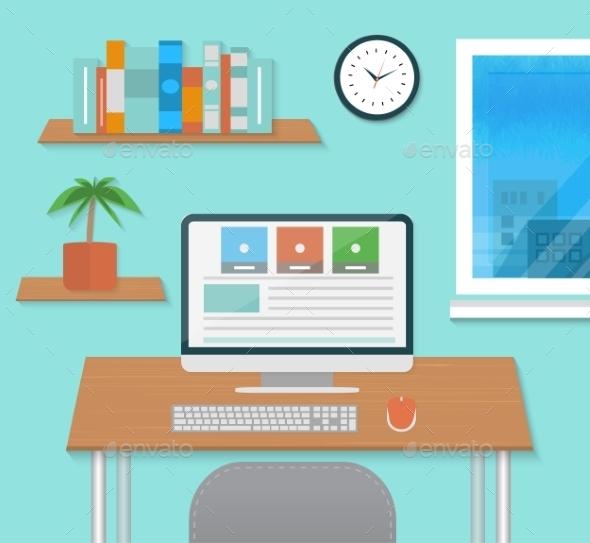 Modern Office Interior with Designer Desktop - Backgrounds Business