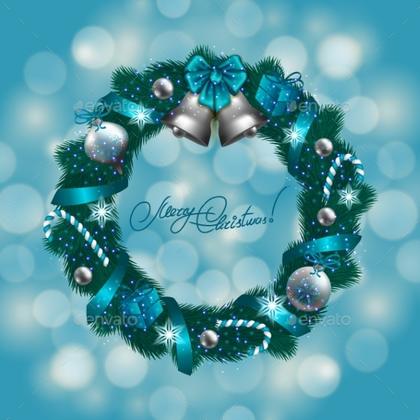 New Year's Background - a Wreath of Fir Branches - Christmas Seasons/Holidays