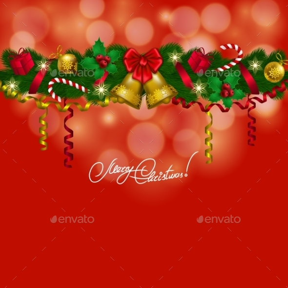 New Year's Background - a Garland of Fir Branches - Christmas Seasons/Holidays
