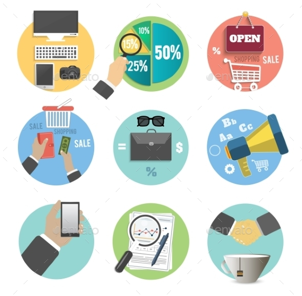 Set of Business Items Icons - Concepts Business