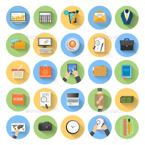 Business Office and Marketing Items Icons - Concepts Business