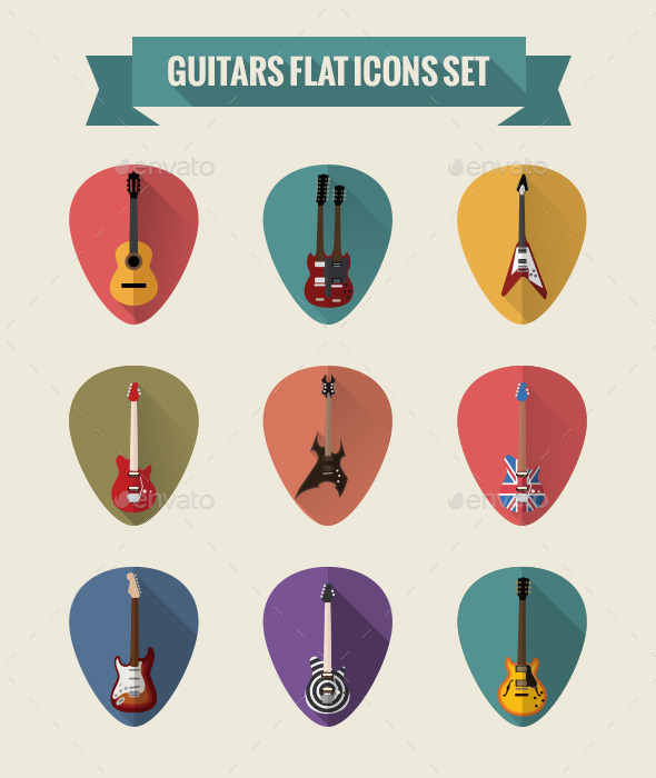 Guitars Flat Icons Set - Man-made objects Objects