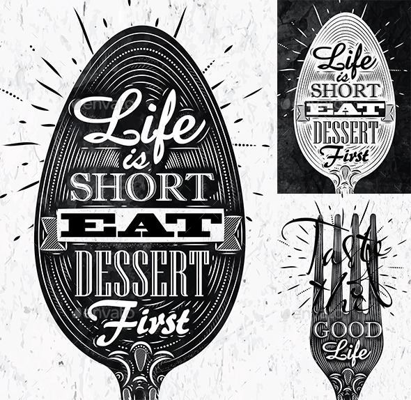 Poster spoon and fork restaurant in retro style - Food Objects