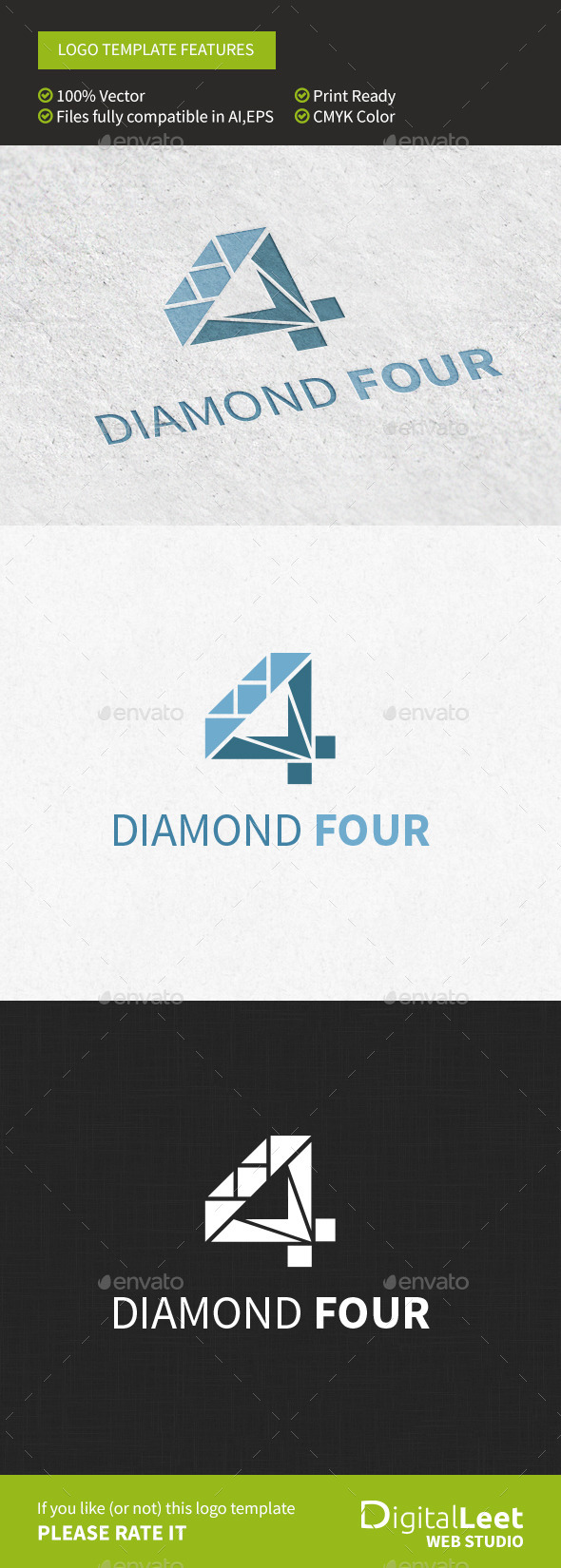 Diamond Four - Logo Template - Numbers Logo Templates