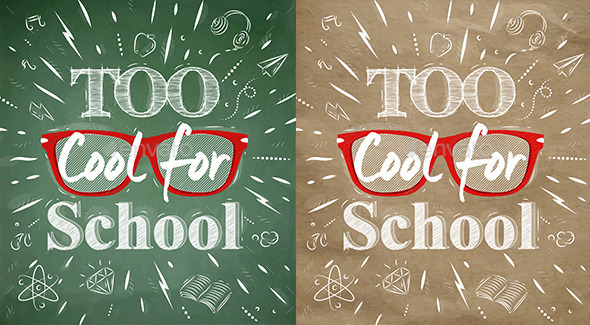 School Poster Lettering Too Cool for School - Miscellaneous Vectors