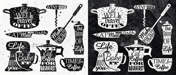 Kitchen Symbol in Retro Vintage Style - Food Objects