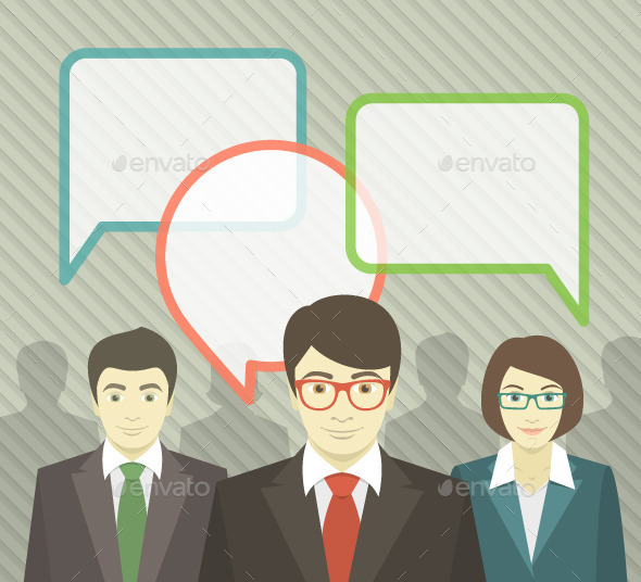 Business Team with Speech Bubbles - Business Conceptual