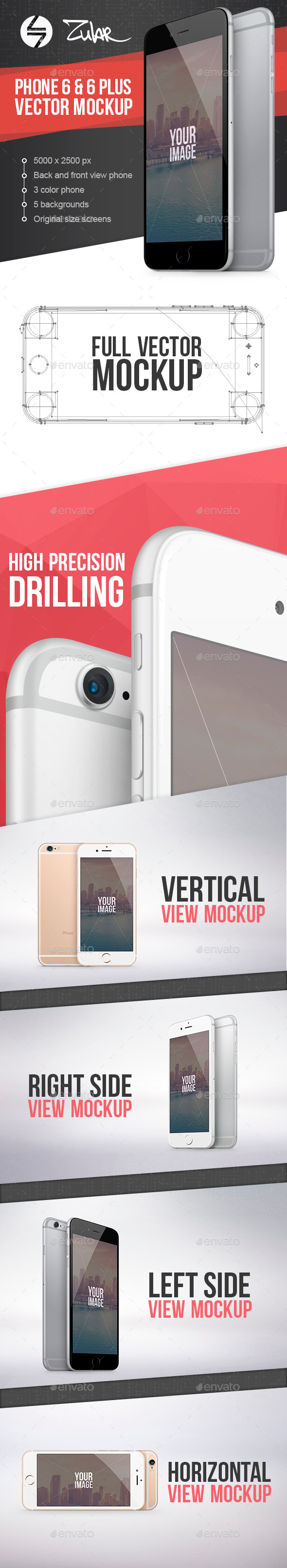 Phone 6 & 6 Plus Vector Mockup - Mobile Displays