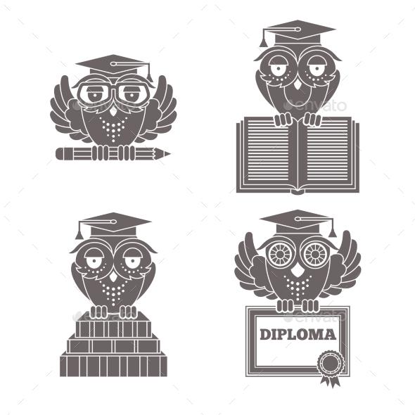 Owls in Graduation Caps Set - Miscellaneous Conceptual