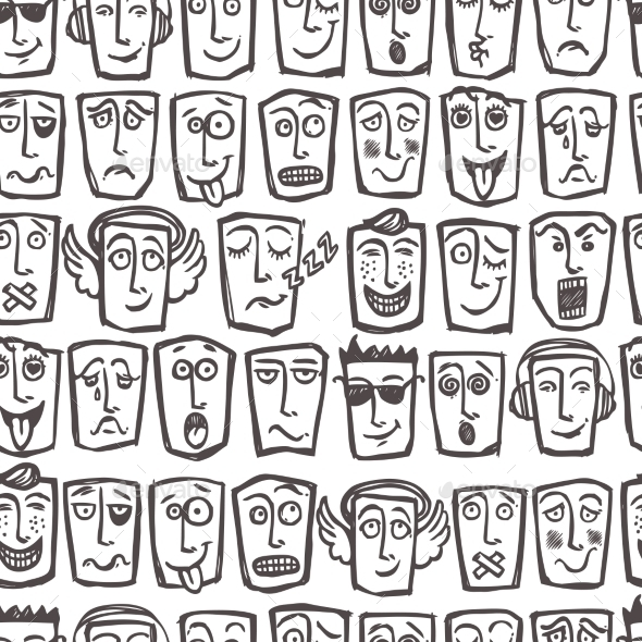 Sketch Emoticons Seamless Pattern - Backgrounds Decorative