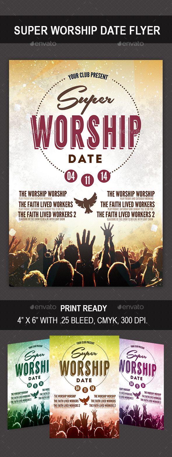 Super Worship Date - Flyers Print Templates