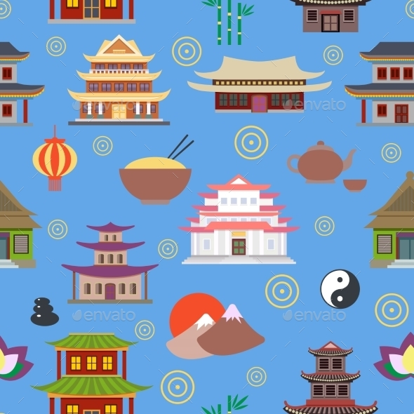 Chinese House Seamless Pattern - Backgrounds Decorative