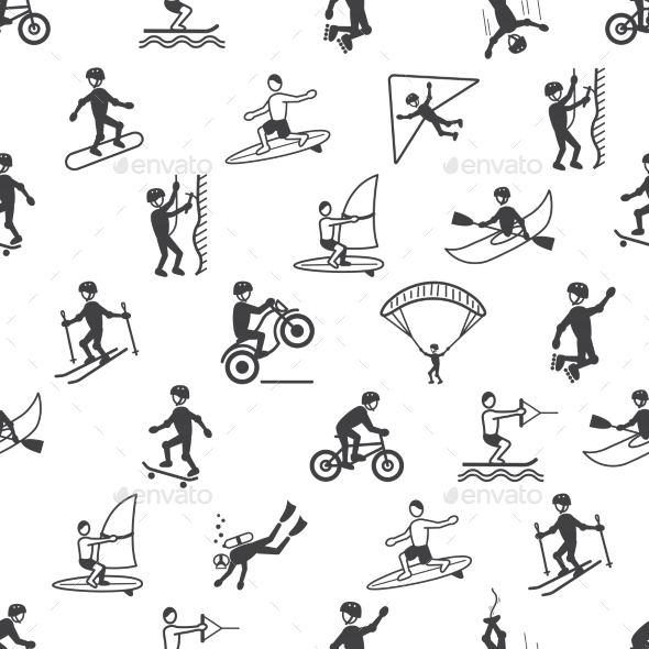 Extreme Sports Seamless Pattern - Backgrounds Decorative