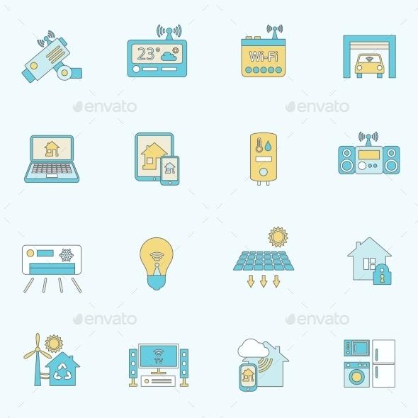 Smart Home Icons Flat Line - Web Elements Vectors