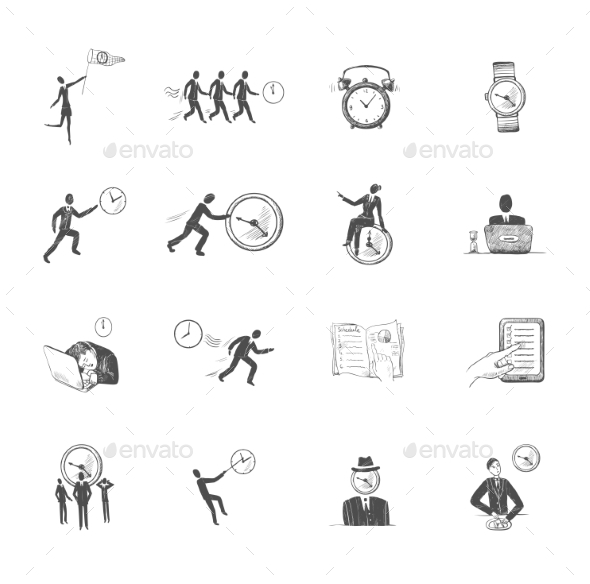 Time Management Icons Sketch - Concepts Business