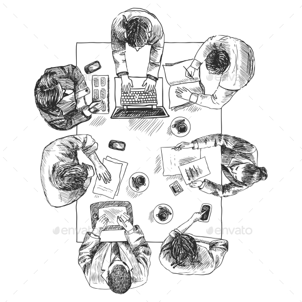 Business Meeting Top View - Concepts Business