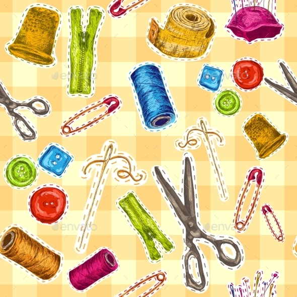 Sewing Sketch Seamless Pattern - Backgrounds Decorative