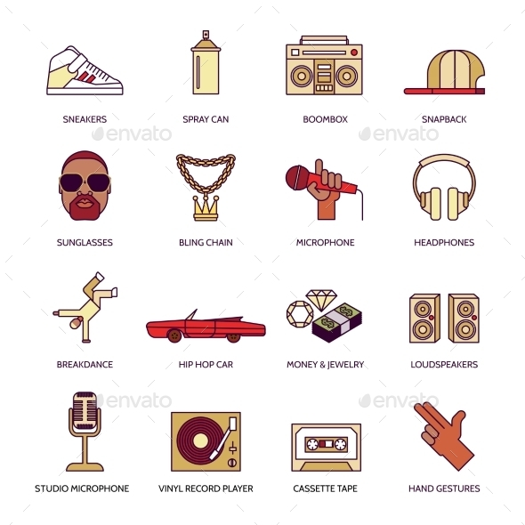 Rap Music Icons Set - Web Icons