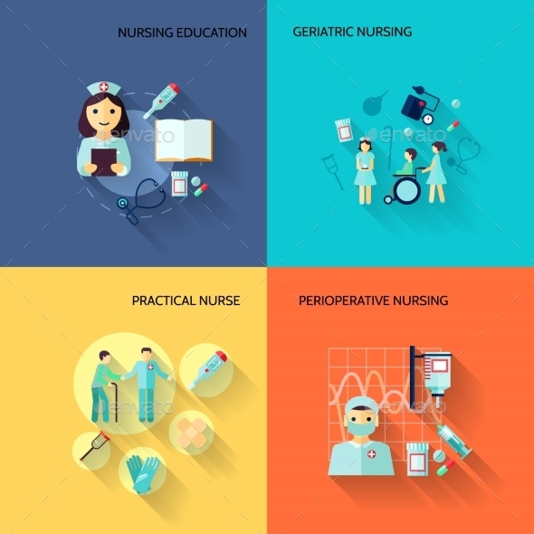 Nurse Icon Set Flat - Health/Medicine Conceptual