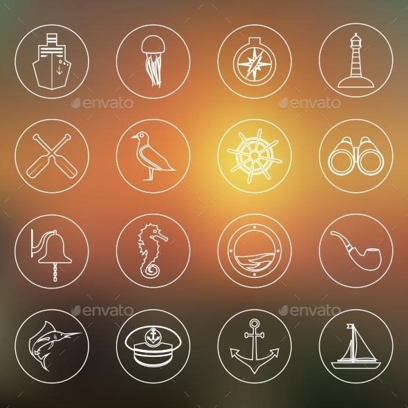 Nautical Icons Set Outline - Travel Conceptual