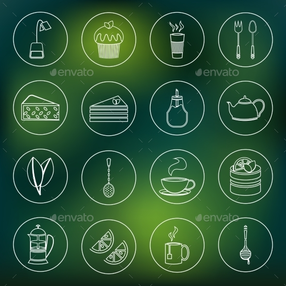 Tea Icons Set Outline - Food Objects