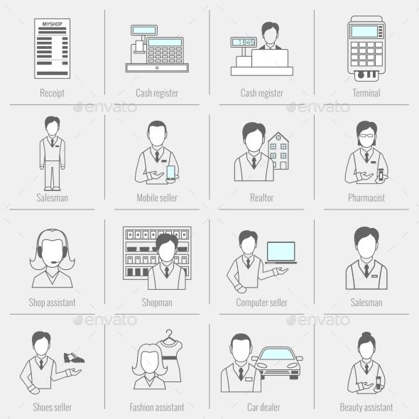 Set Icons Salesman Flat Line - Concepts Business