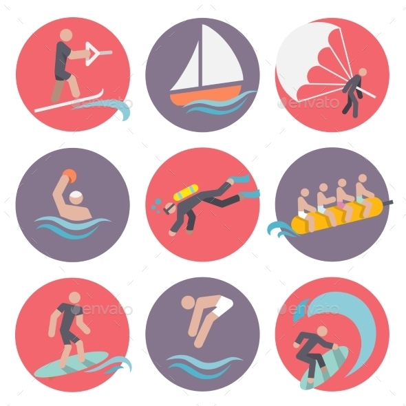 Water Sports Icons Set Flat - Sports/Activity Conceptual