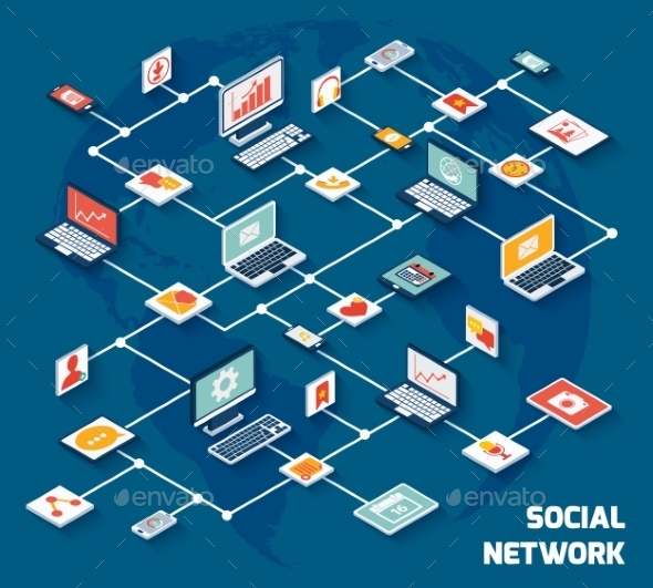 Social Network Isometric - Concepts Business