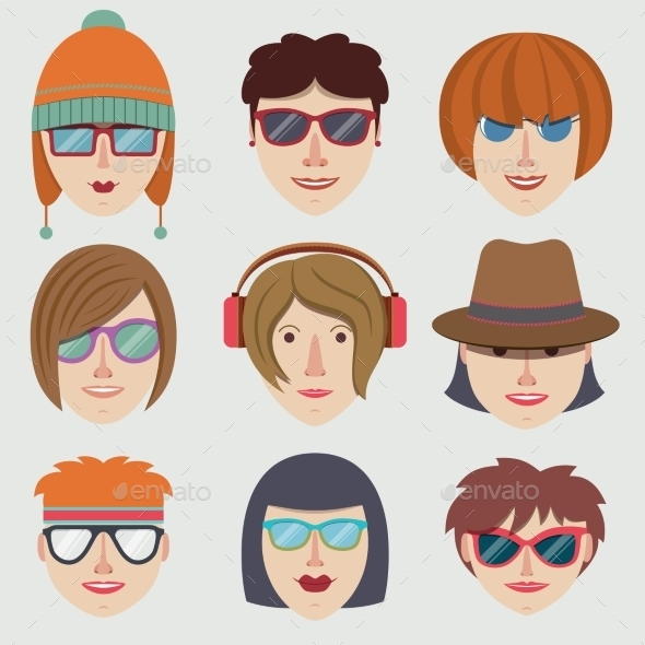 Hipster Girl Faces - People Characters