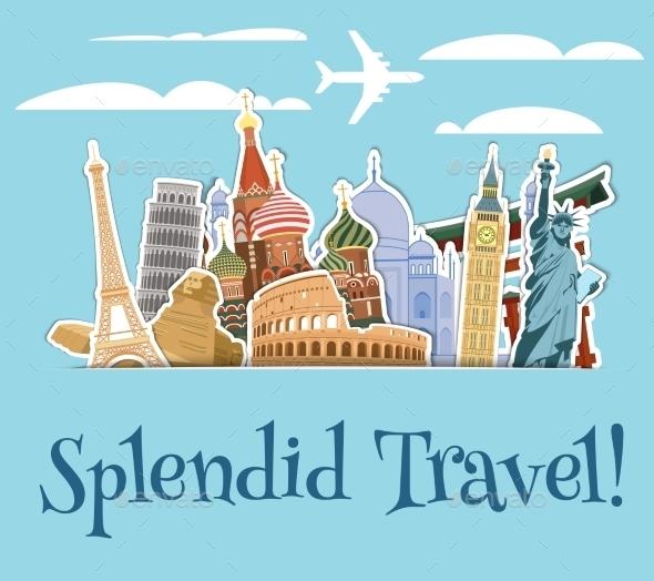Landmarks Scrapbook Background - Travel Conceptual