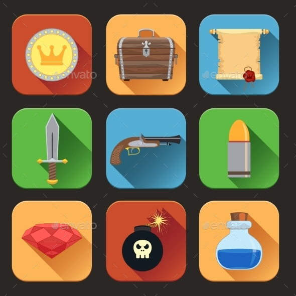 Game Resources Icons Flat - Web Technology