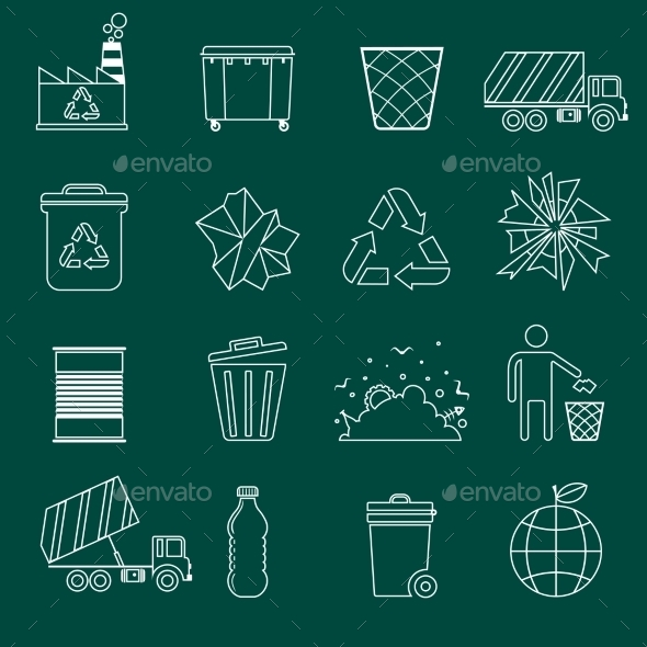 Garbage Icons Outline - Web Technology