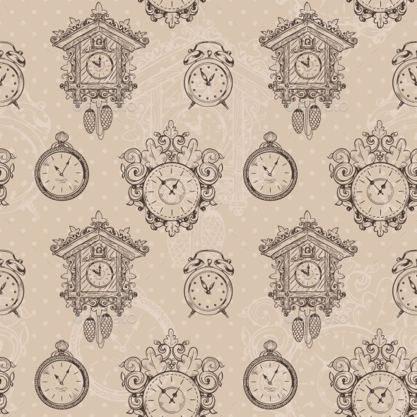 Old Vintage Clock Seamless Pattern - Backgrounds Decorative