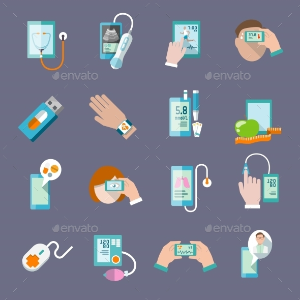 Mobile Health Icons Set Flat - Health/Medicine Conceptual