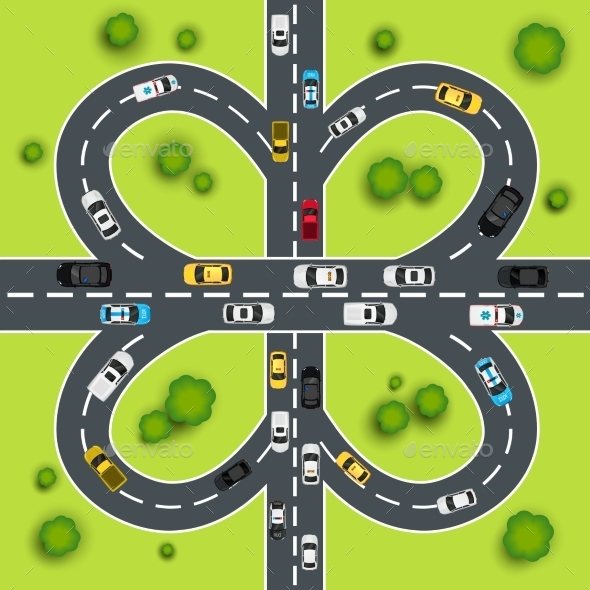 Highway Traffic Illustration - Miscellaneous Vectors