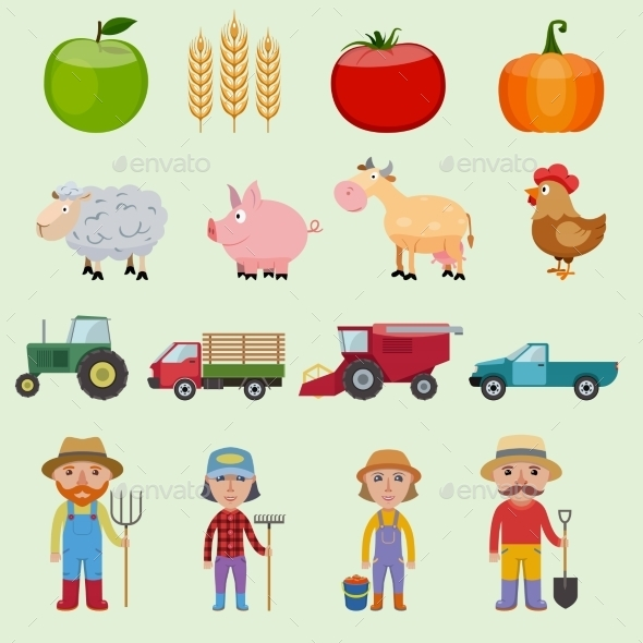 Farm Icons Set - Industries Business