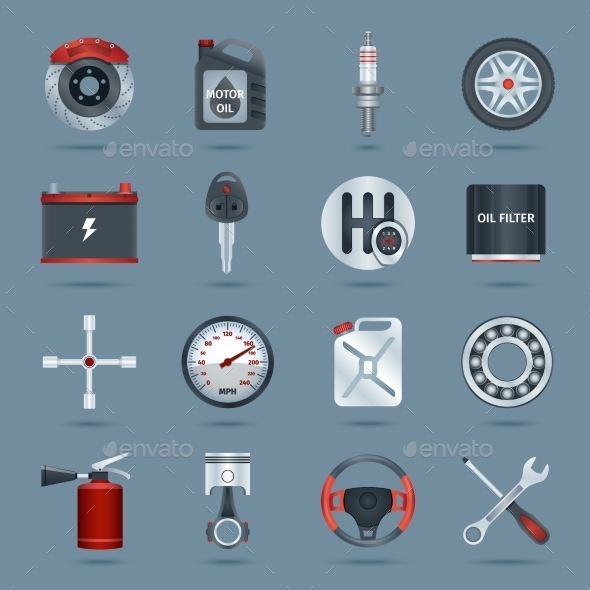 Car Parts Icons - Web Technology