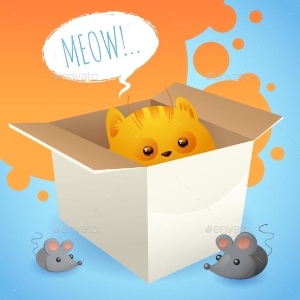 Kitten in Box - Miscellaneous Vectors
