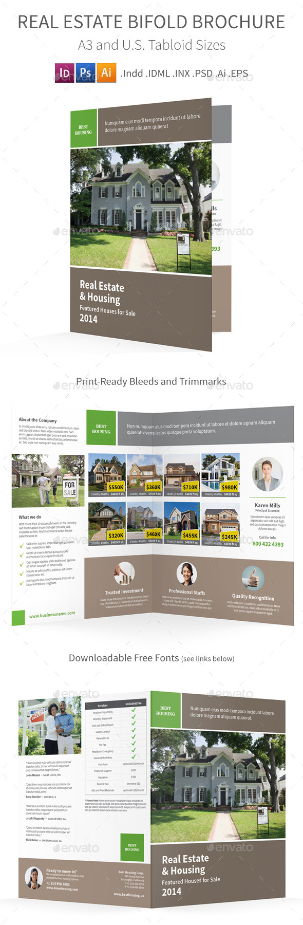 Real Estate Bifold / Halffold Brochure - Informational Brochures