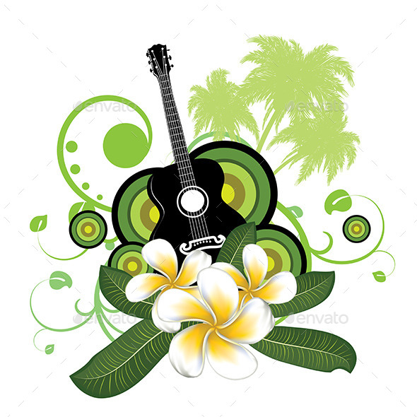 Plumeria Flowers and Guitar - Nature Conceptual