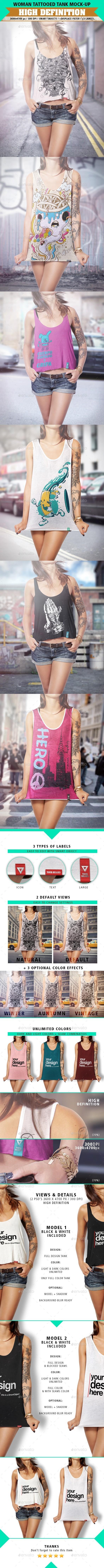 Tank Top Mock-Up Tattooed Woman - T-shirts Apparel