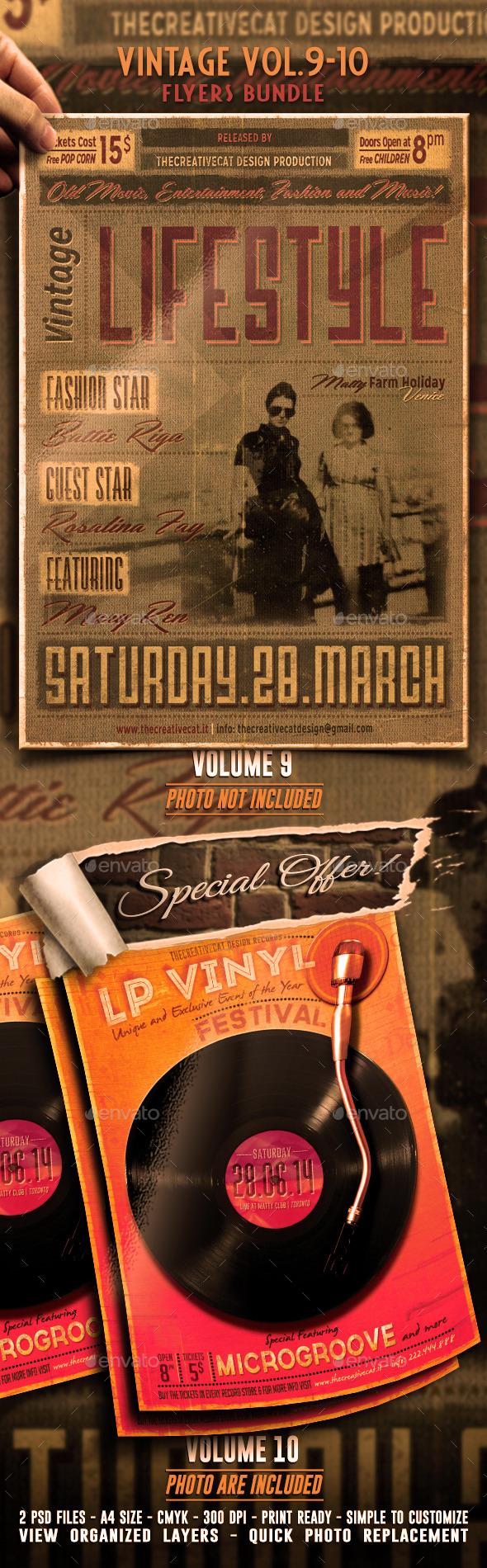Vintage Flyer/Poster Bundle Vol. 9-10 - Events Flyers